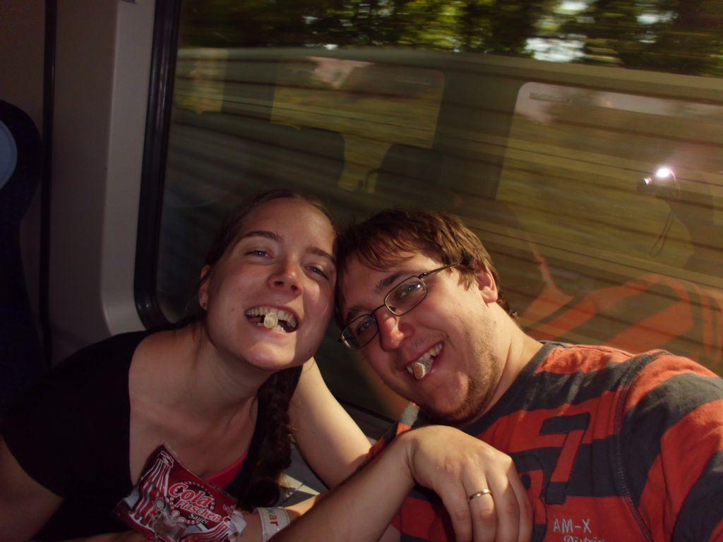 Selfie aus dem Zug zum Flughafen