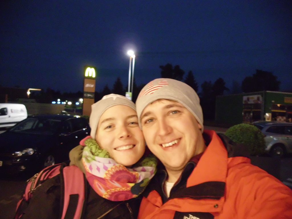 Selfie mit unseren Beanies (genäht von Nicky - DANKE!)
